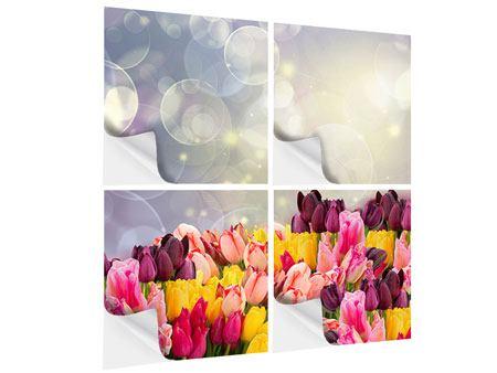 Klebeposter 4-teilig Buntes Tulpenbeet im Lichtspiel