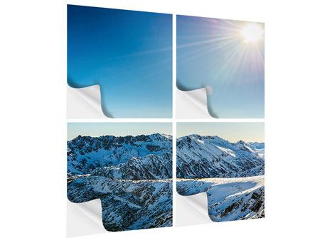 Klebeposter 4-teilig Berge im Schnee