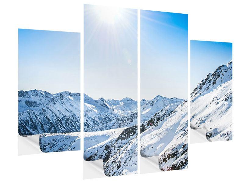 Klebeposter 4-teilig Bergpanorama im Schnee