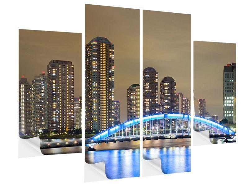 Klebeposter 4-teilig Skyline Tokio in der Nacht