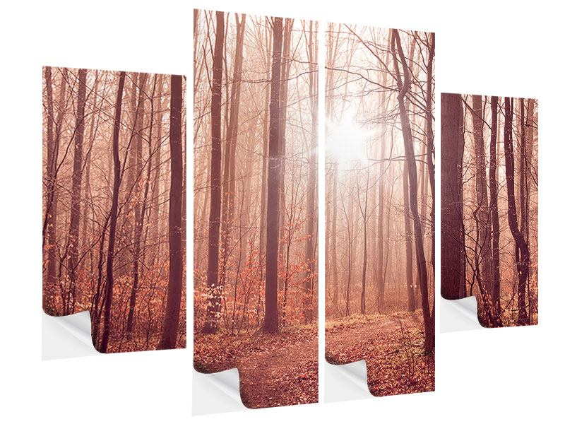 Klebeposter 4-teilig Sonnenuntergang im Herbstwald