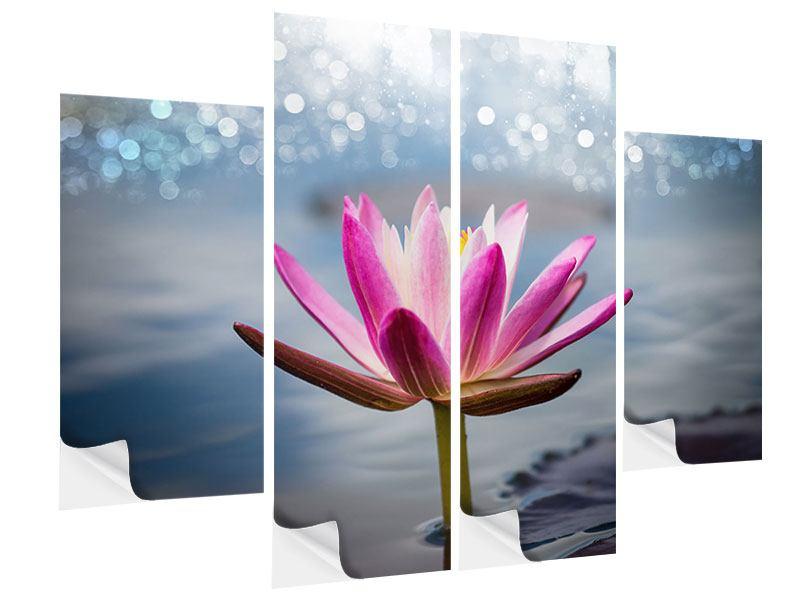 Klebeposter 4-teilig Lotus im Morgentau