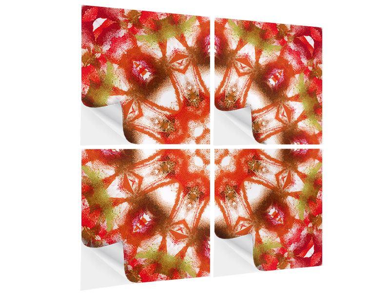 Klebeposter 4-teilig Geometrisches Gemälde