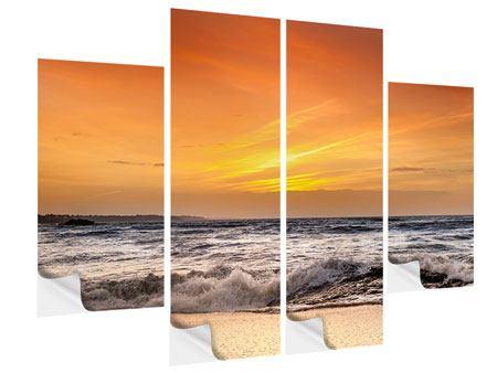 Klebeposter 4-teilig See mit Sonnenuntergang