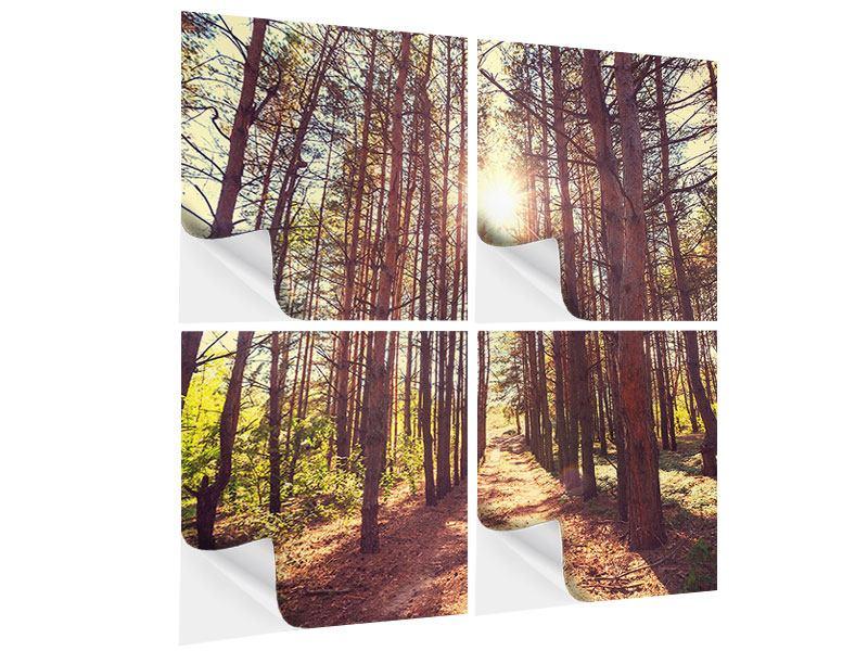 Klebeposter 4-teilig Licht am Ende des Waldweges