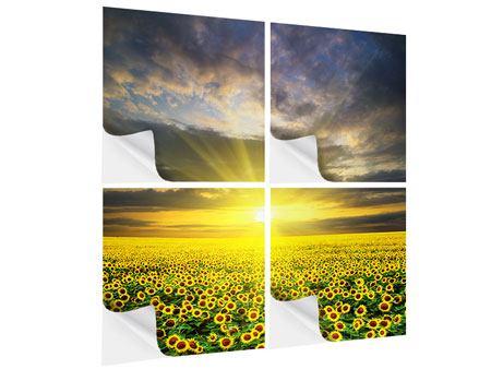 Klebeposter 4-teilig Abenddämmerung bei den Sonnenblumen