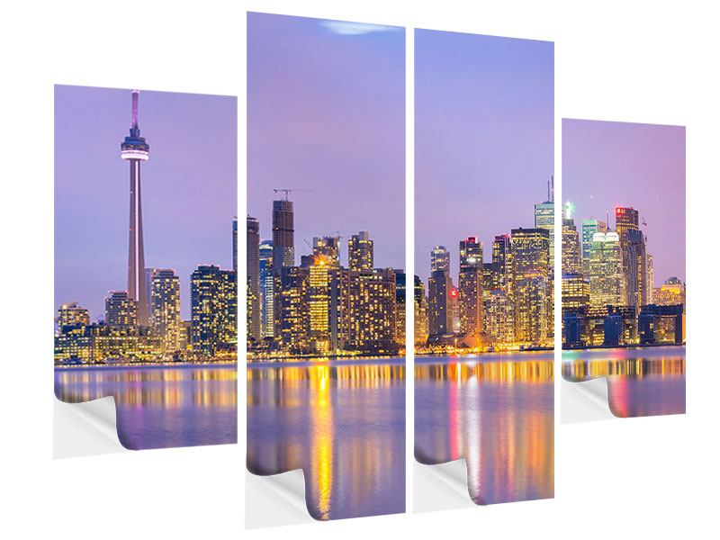 Klebeposter 4-teilig Skyline Toronto bei Nacht