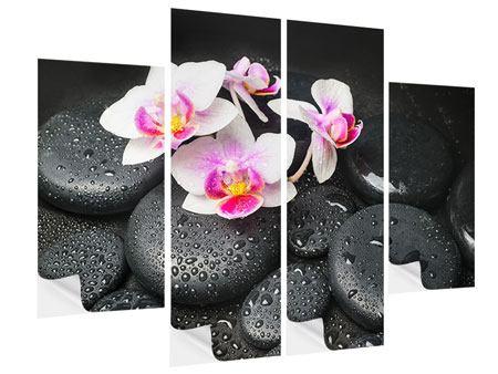 Klebeposter 4-teilig Feng-Shui-Orchidee Zen
