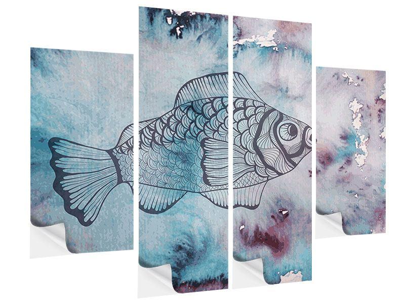 Klebeposter 4-teilig Fisch-Aquarell