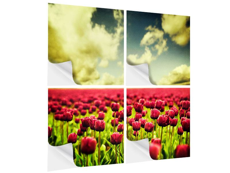 Klebeposter 4-teilig Ein Tulpenfeld