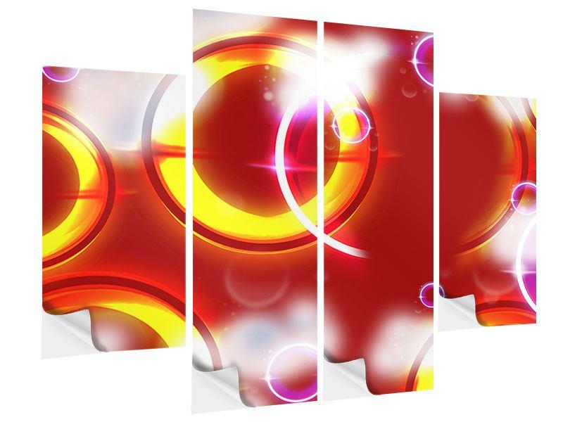 Klebeposter 4-teilig Abstraktes Retro