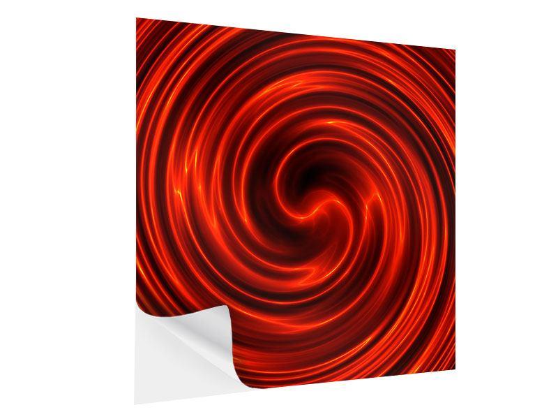 Klebeposter Abstrakte Rote Wirbel