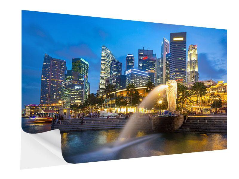 Klebeposter Skyline Singapur im Lichtermeer