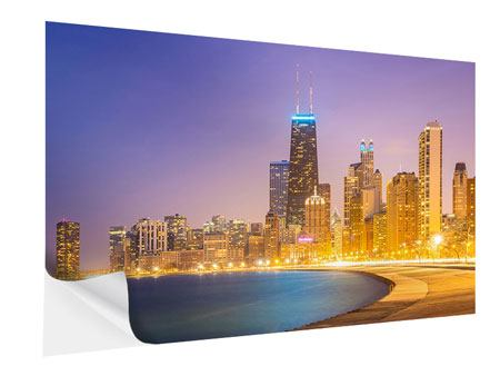 Klebeposter Skyline Chicago in der Nacht
