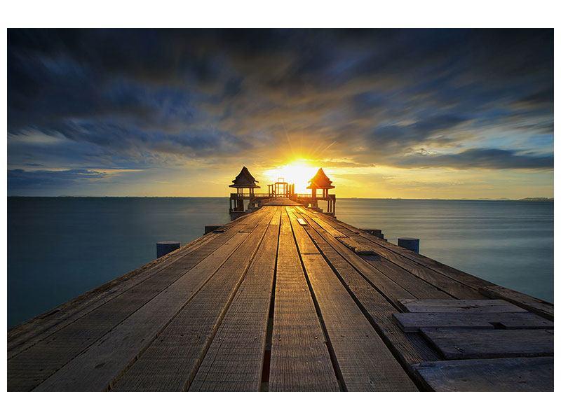 Klebeposter Der Sonnenuntergang bei der Holzbrücke