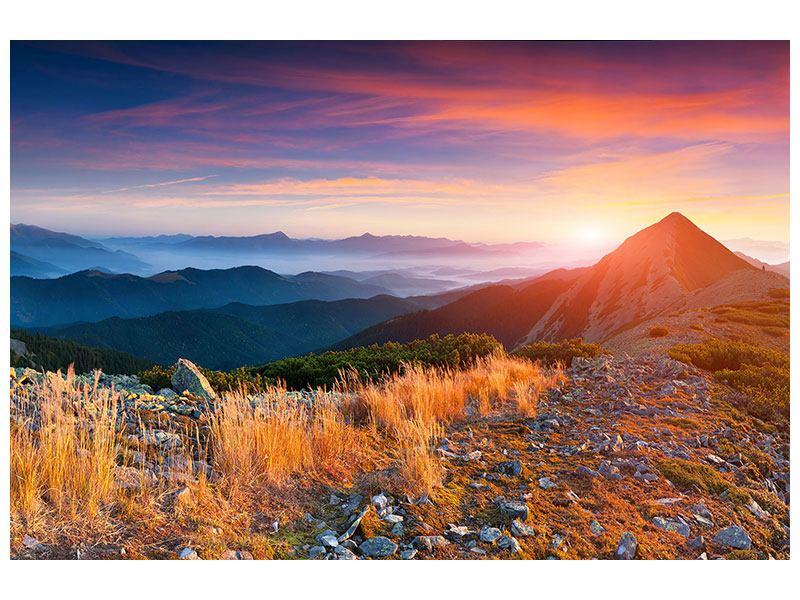 Klebeposter Sonnenuntergang in den Alpen