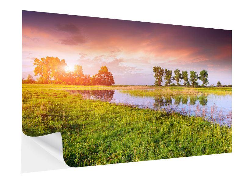 Klebeposter Sonnenuntergang am See