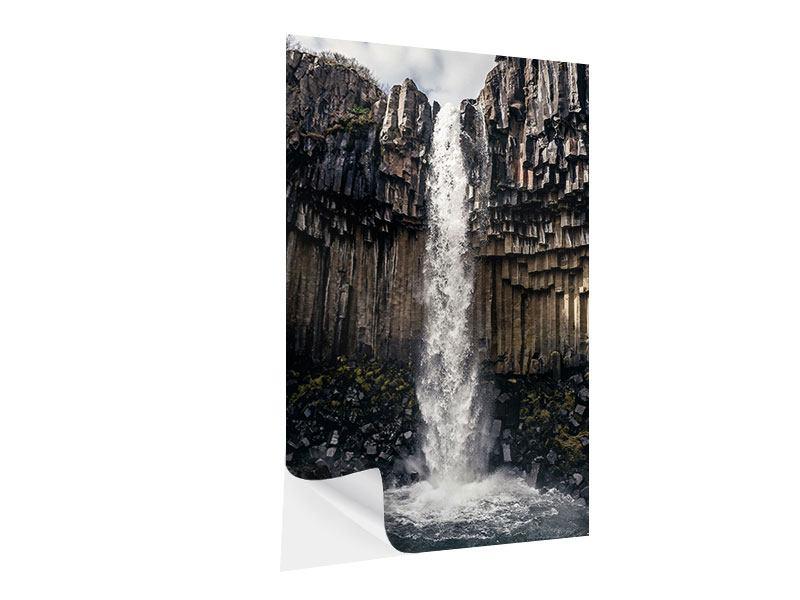 Klebeposter Wasserfall Island