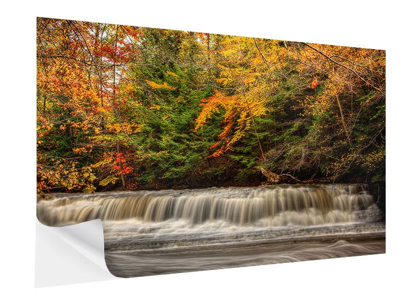 Klebeposter Herbst beim Wasserfall