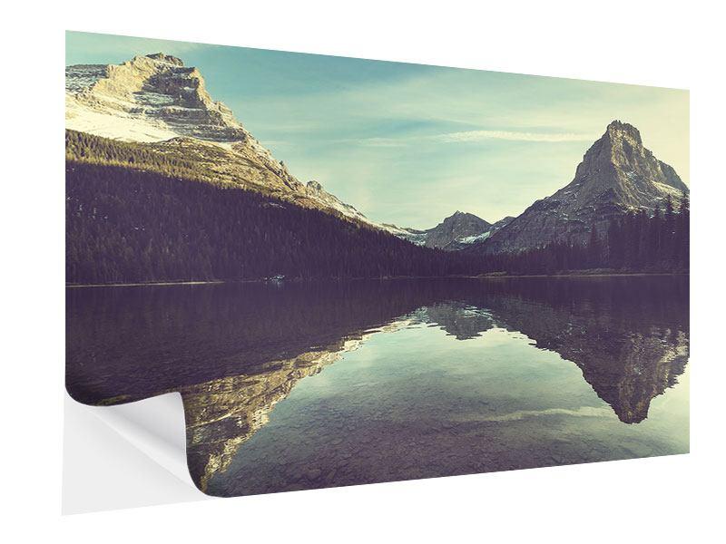 Klebeposter Spiegelung im Bergsee