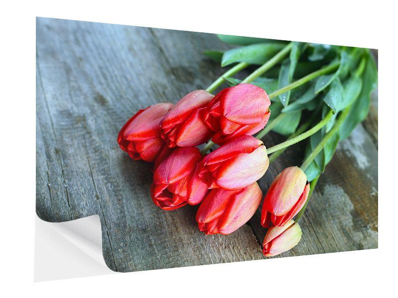 Klebeposter Der rote Tulpenstrauss