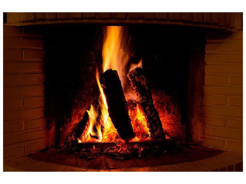 Klebeposter Feuer im Kamin