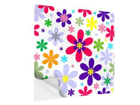 Klebeposter Retromode Blumen