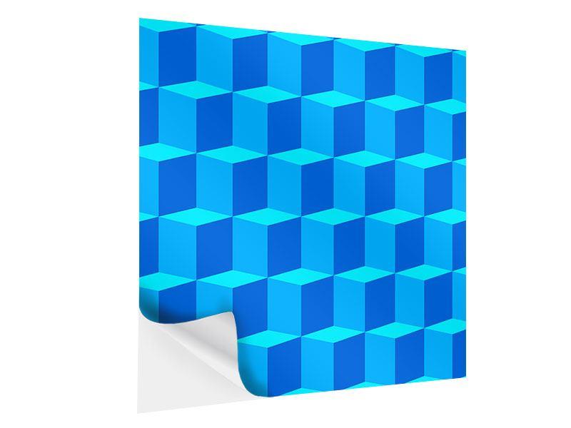 Klebeposter 3D-Würfel Türkis