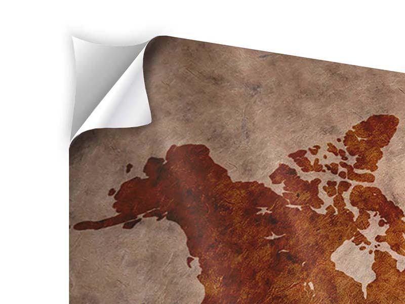 Klebeposter Vintage-Weltkarte