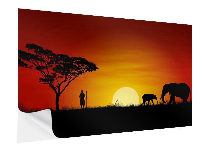 Klebeposter Afrikanische Steppenelefanten