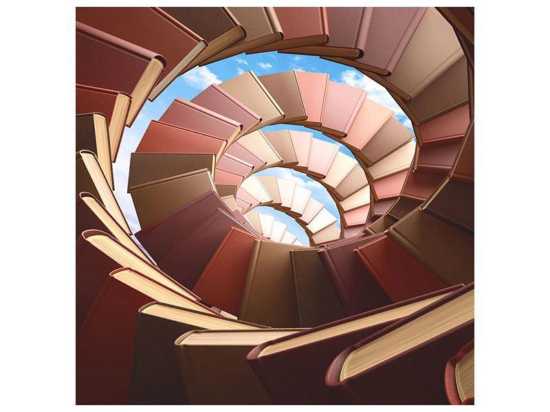 Klebeposter Abstrakte Bücher-Wendeltreppe