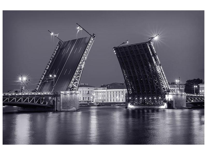 Klebeposter Klappbrücke bei Nacht