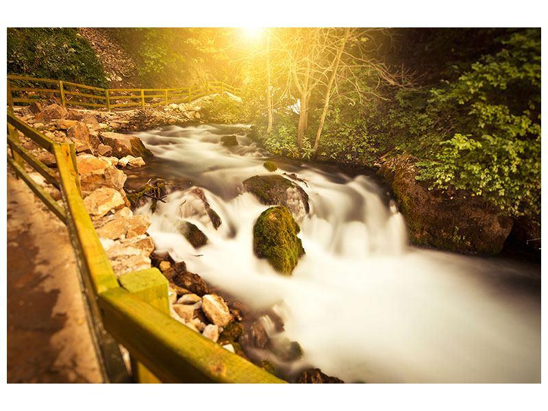 Klebeposter Sonnenuntergang am Wasserfall