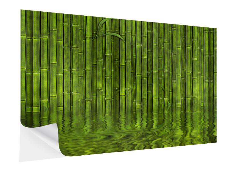 Klebeposter Wasserspiegelung Bambus