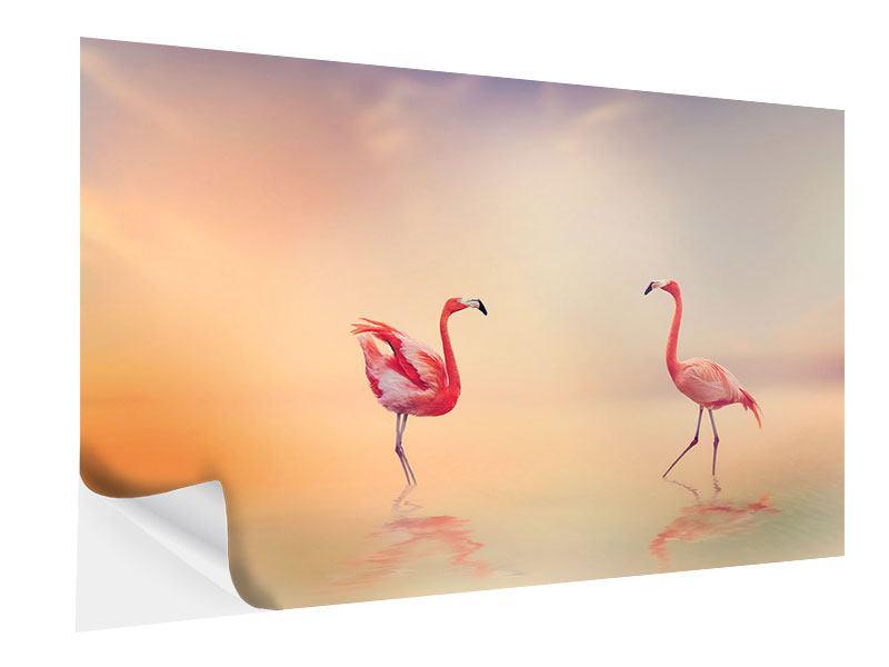 Klebeposter Romantische Flamingos