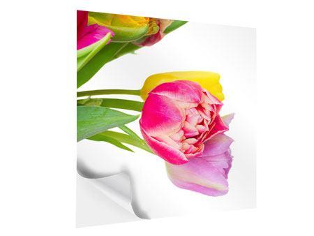 Klebeposter Ein bunter Tulpenstrauss