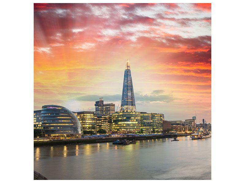Klebeposter Skyline London im Abendrot
