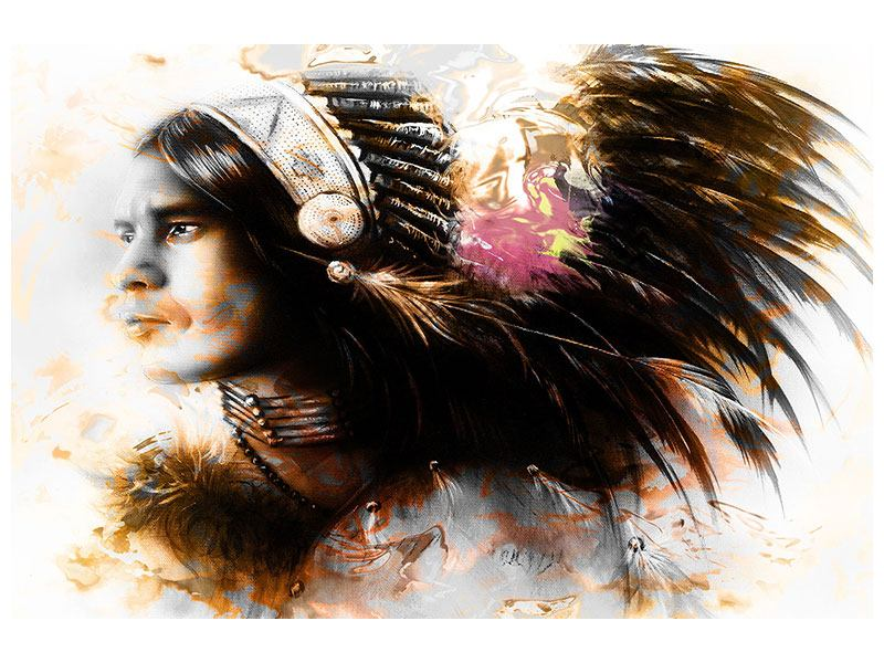 Klebeposter Kunstvolles Indianer-Portrait