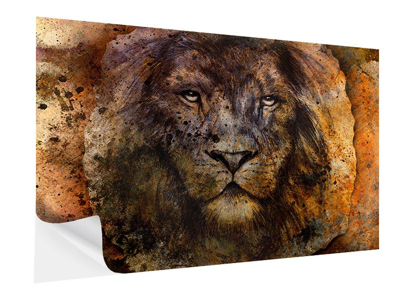 Klebeposter Portrait eines Löwen