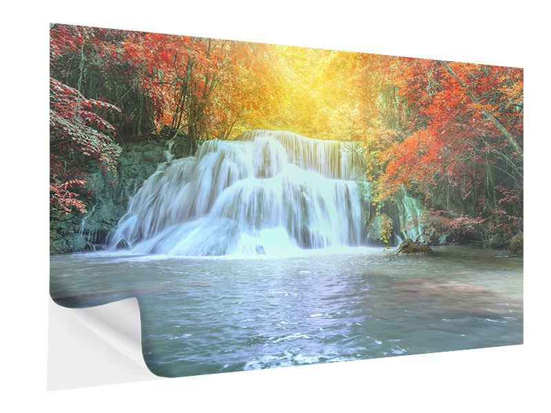 Klebeposter Wasserfall im Licht