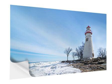 Klebeposter Leuchtturm im Schnee