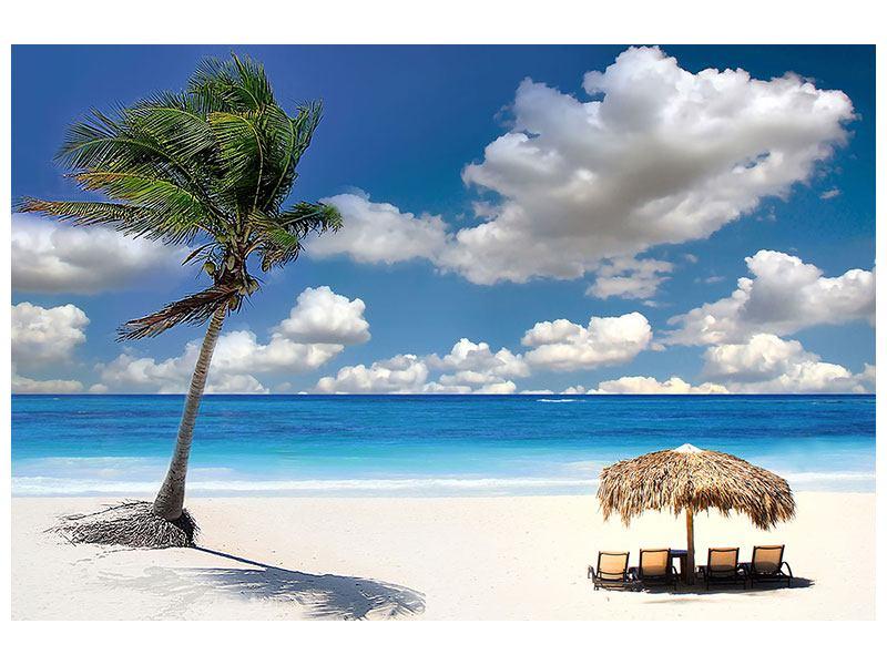 Klebeposter Strand an der blauen Lagune