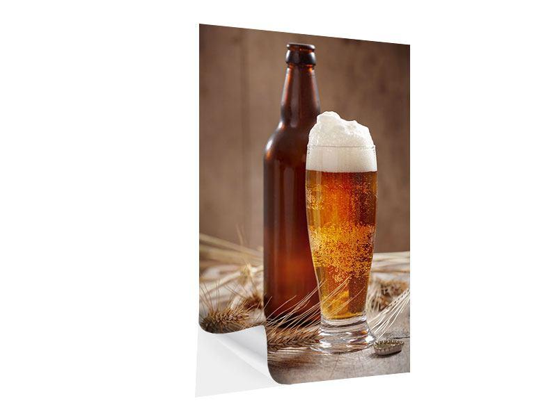 Klebeposter Bier mit Schaum