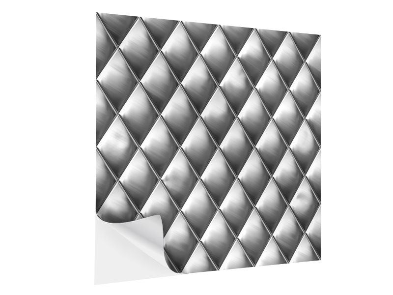 Klebeposter 3D-Rauten Silbergrau