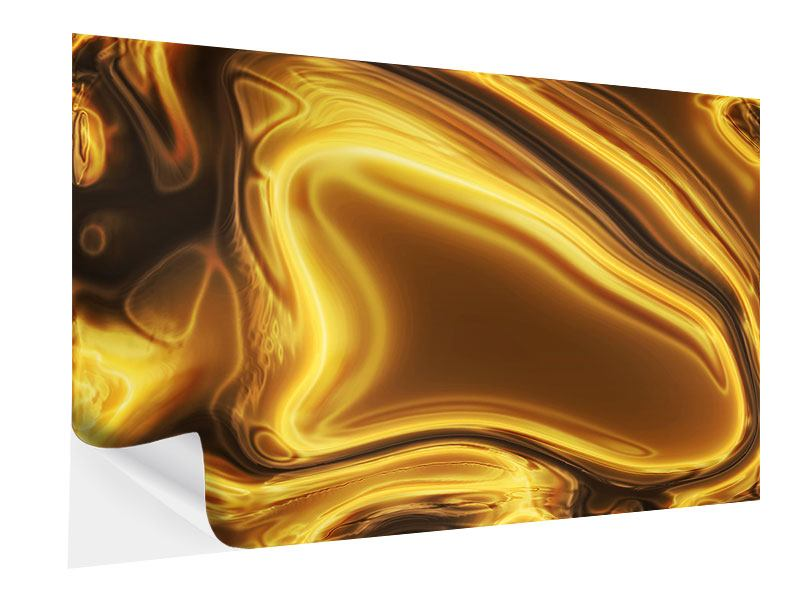 Klebeposter Abstrakt Flüssiges Gold