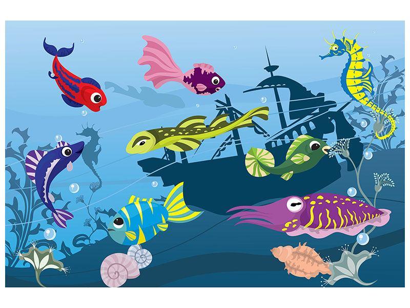 Klebeposter Fische im Wasser