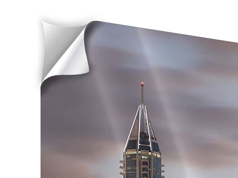 Klebeposter Skyline Dubai bei Sonnenuntergang