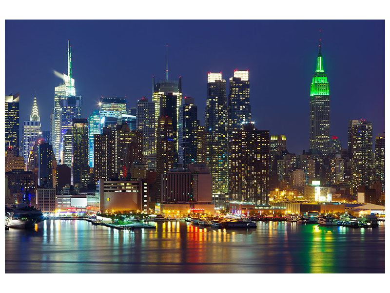 Klebeposter Skyline New York Midtown bei Nacht