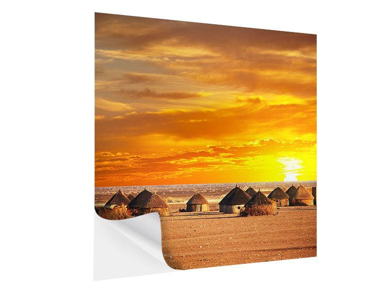 Klebeposter Afrikanisches Dorf