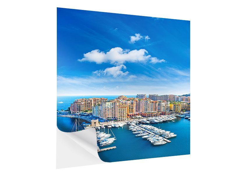 Klebeposter Skyline Panoramablick Jachthafen Monaco
